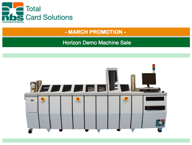 NBS Technologies Horizon Demo Machine Sale